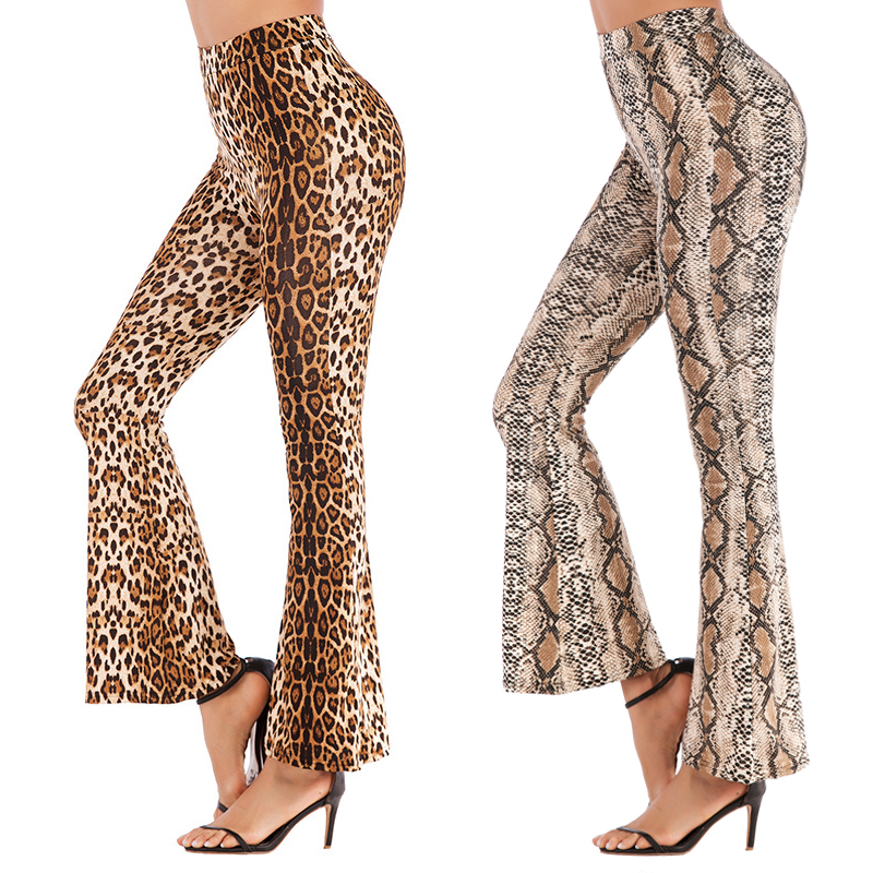 Loose   Wide     Leg     Pants   Women High Waist Trousers Summer 2019 Leopard Sexy Flared   Pant   Female Palazzo Snake Print   Pant   For Femme