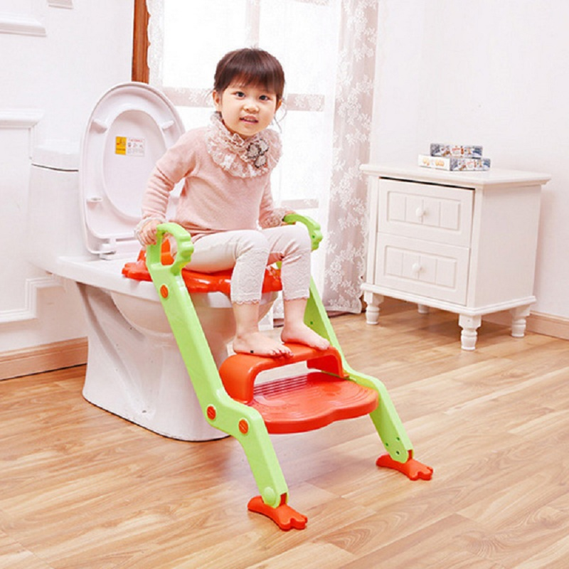 Baby Potty Child Toilet Seat with Steps Baby Safety Step Ladder Potty Infant Foldable Toilet Seat Non-Slip Kids Toilet Trainer