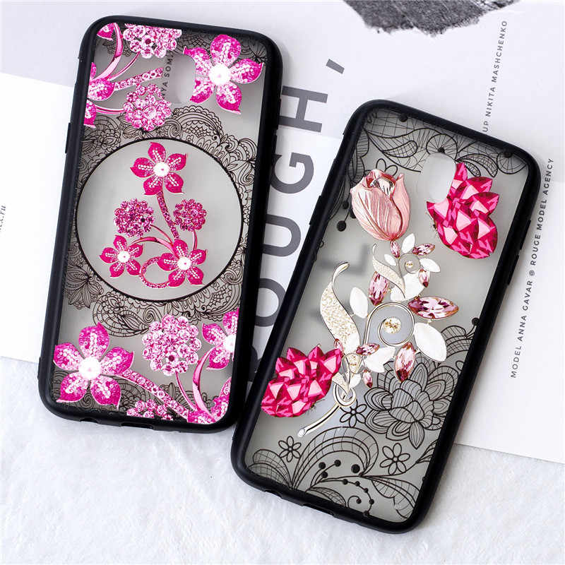 For Samsung Galaxy J730 J7 2017 European Edition Case Relief lace pattern Lace Datura Drilled flower Mobile Phone Shell