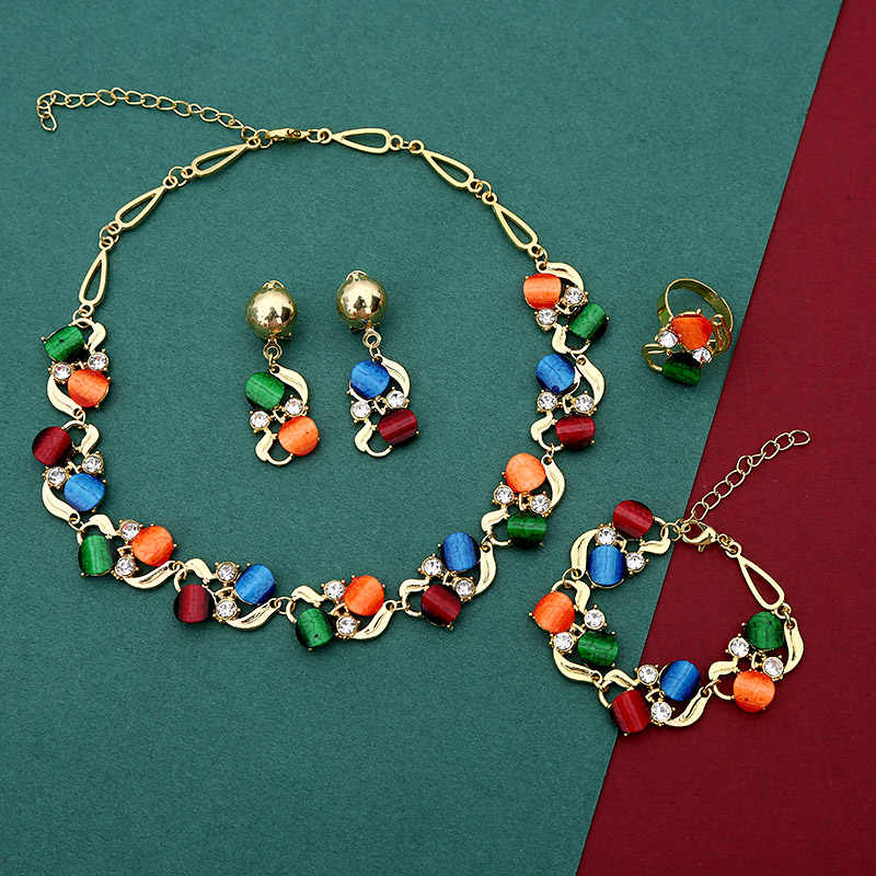 Guvivi New Fashion Jewelry Sets for Women Colorful Metal Stone Drop Earrings Choker Necklaces Bracelets Set Female NE+BR+RI+EA