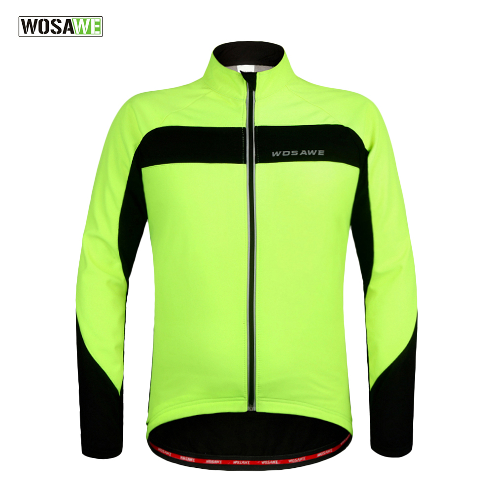 WOSAWE Fleece Thermal Cycling Jackets Warm Up Bicycle Cycling Jerseys Waterproof Wind Coat MTB Mountain Road Bike Jersey, Green