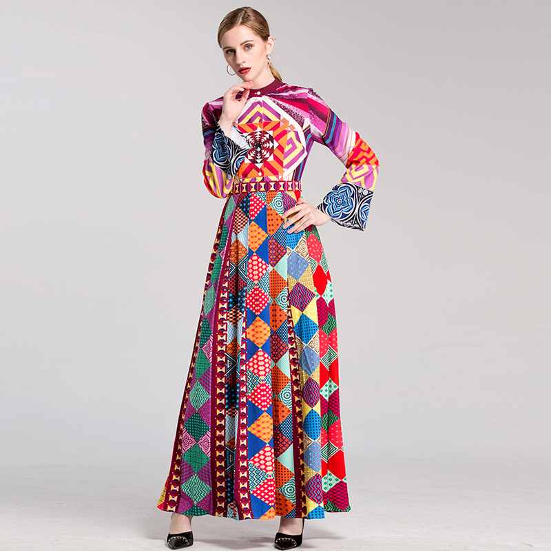 Hot Selling Beautiful Printed Full Length Women Dresses Flare Sleeve Plus Size 4XL Summer Runway Bohemian Dress HIGH QUALITY