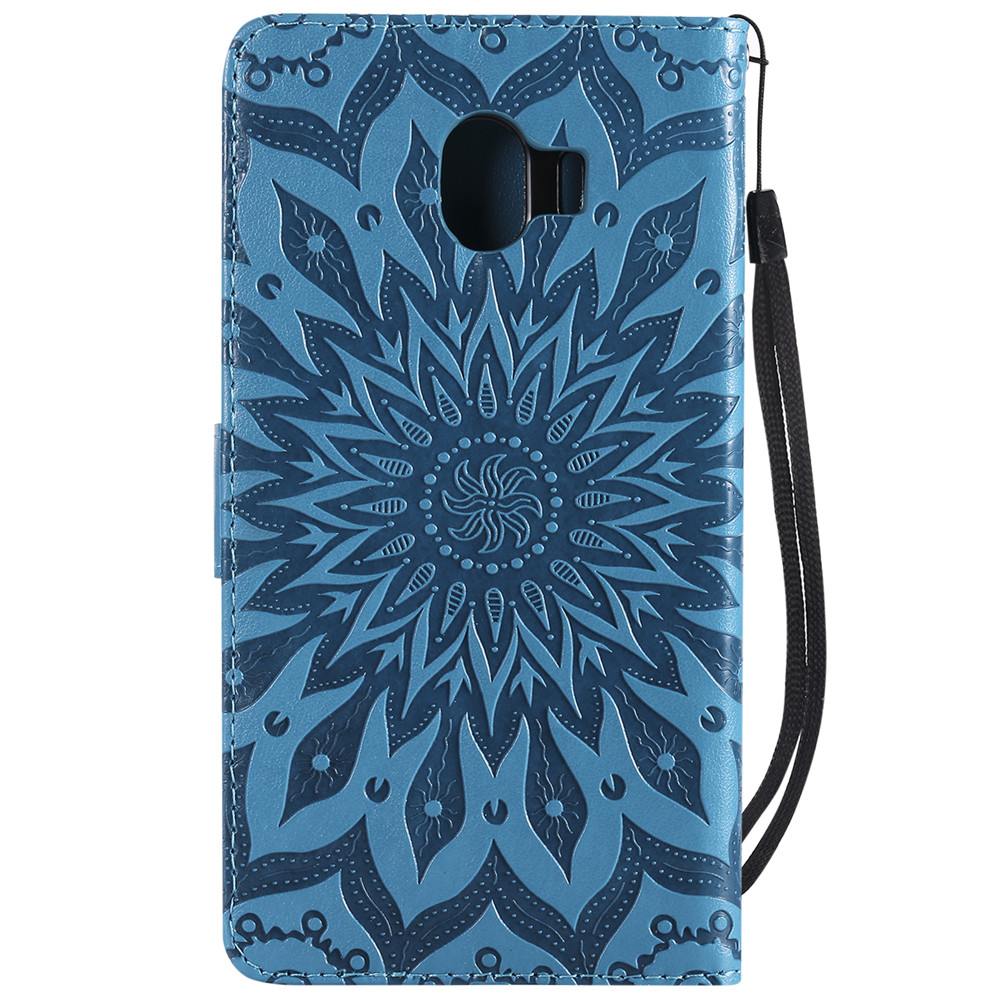 Phone Case sFor Samsung Galaxy J4 2018 Case Embossing Leather Flip Magnetic Wallet Card Cover For Galaxy J6 Plus 2018 Case Capa in Flip Cases from Cellphones Telecommunications
