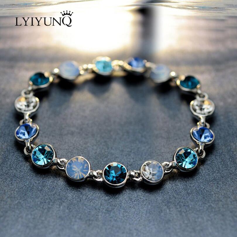 LYIYUNQ Simple Design Round Crystal Charm Bracelets For Women Trendy Rhinestone Bracelet Fashion Wedding Jewelry