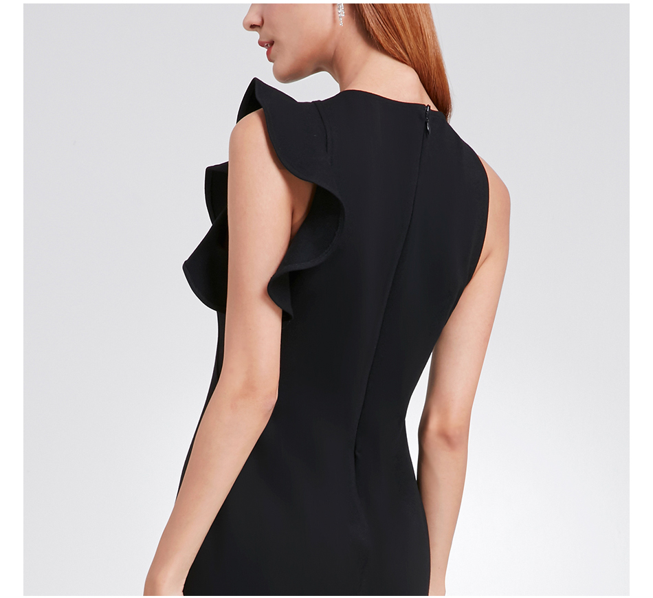 Ever Pretty, новинка, модное женское коктейльное платье, 5903, сексуальное, растягивающееся, рукав, оборки, черное, мини, короткое, вечернее платье, халат soiree
