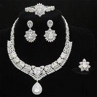 Women Nigerian Wedding Bride Jewelry Set Luxury Statement Full Cubic Zirconia Necklace Dubai Jewelry Sets for Women