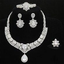 fd209fe23832 Las mujeres de Nigeria boda novia juego de joyería de lujo declaración  completa collar de Zirconia