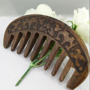 1PCS Black Sandalwood Comb Super Wide Tooth Straight And curly Hair Massage Wooden Comb Pocket Beard comb(China)