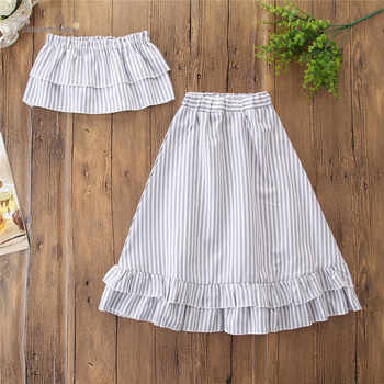 Baby Girls Summer Clothes Set Vertical Striped Tops Long Skirt Children Princess Party Skirts Outfit Clothes 1.1kg#41
