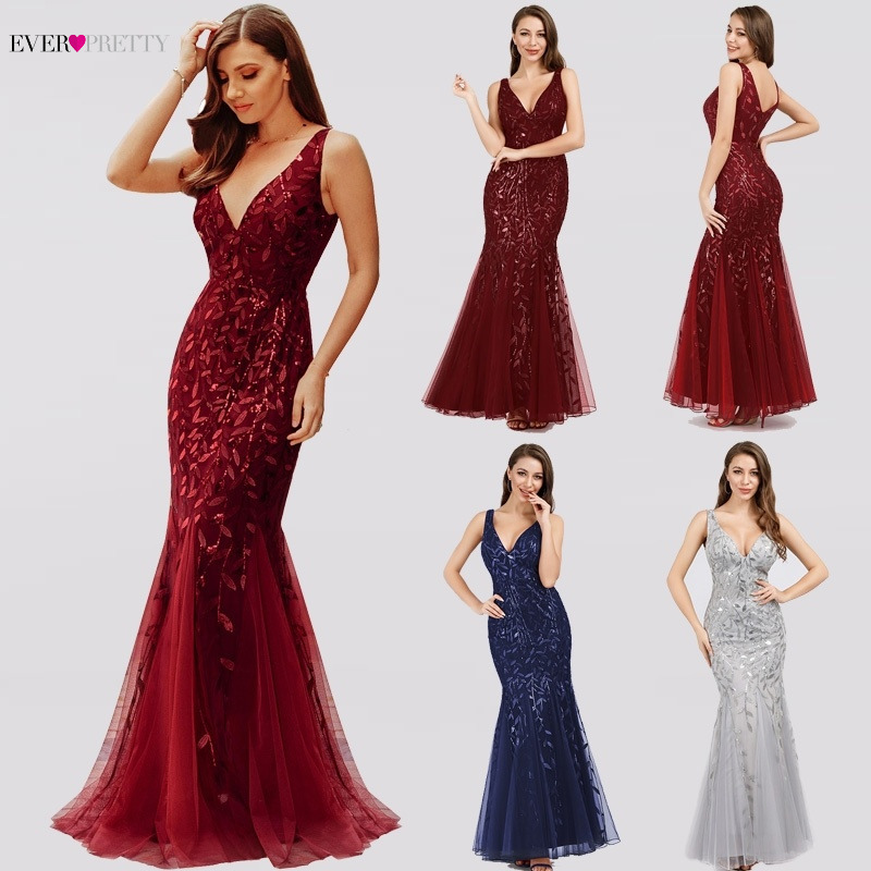Elegant Mermaid   Bridesmaid     Dresses   Ever Pretty V-Neck Sleeveless Vintage Burgundy Women Wedding Guest   Dresses   Vestidos De Gala