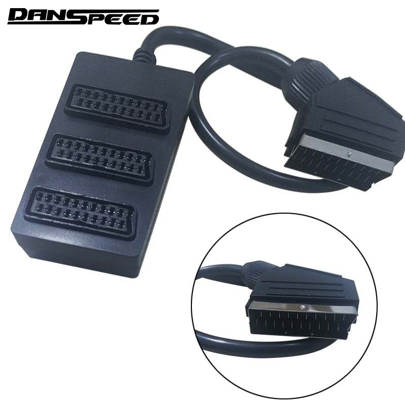 DANSPEED 3 Way Scart Splitter Switch Box Video Cable Male to Female Adapter Connector 3 Devices to One TV Television 2 way tv t splitter aerial coaxial cable male to 2 female connectors adapter coaxial splitter adapter