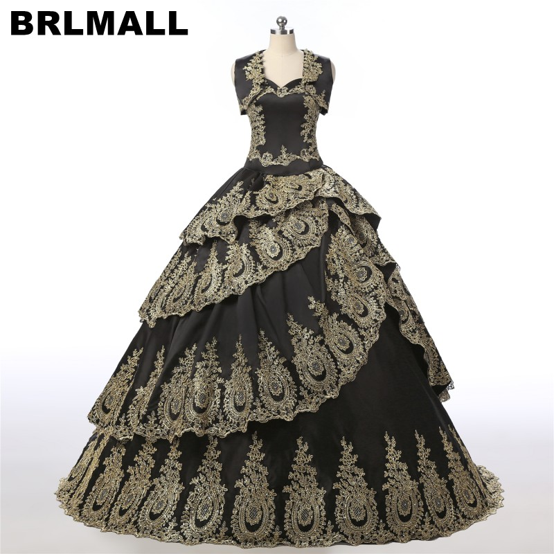 BRLMALL Великолепные Золотые Аппликации черные пышные платья с свободной курткой многослойное бальное платье vestidos de 15 anos сладкий 16 платье