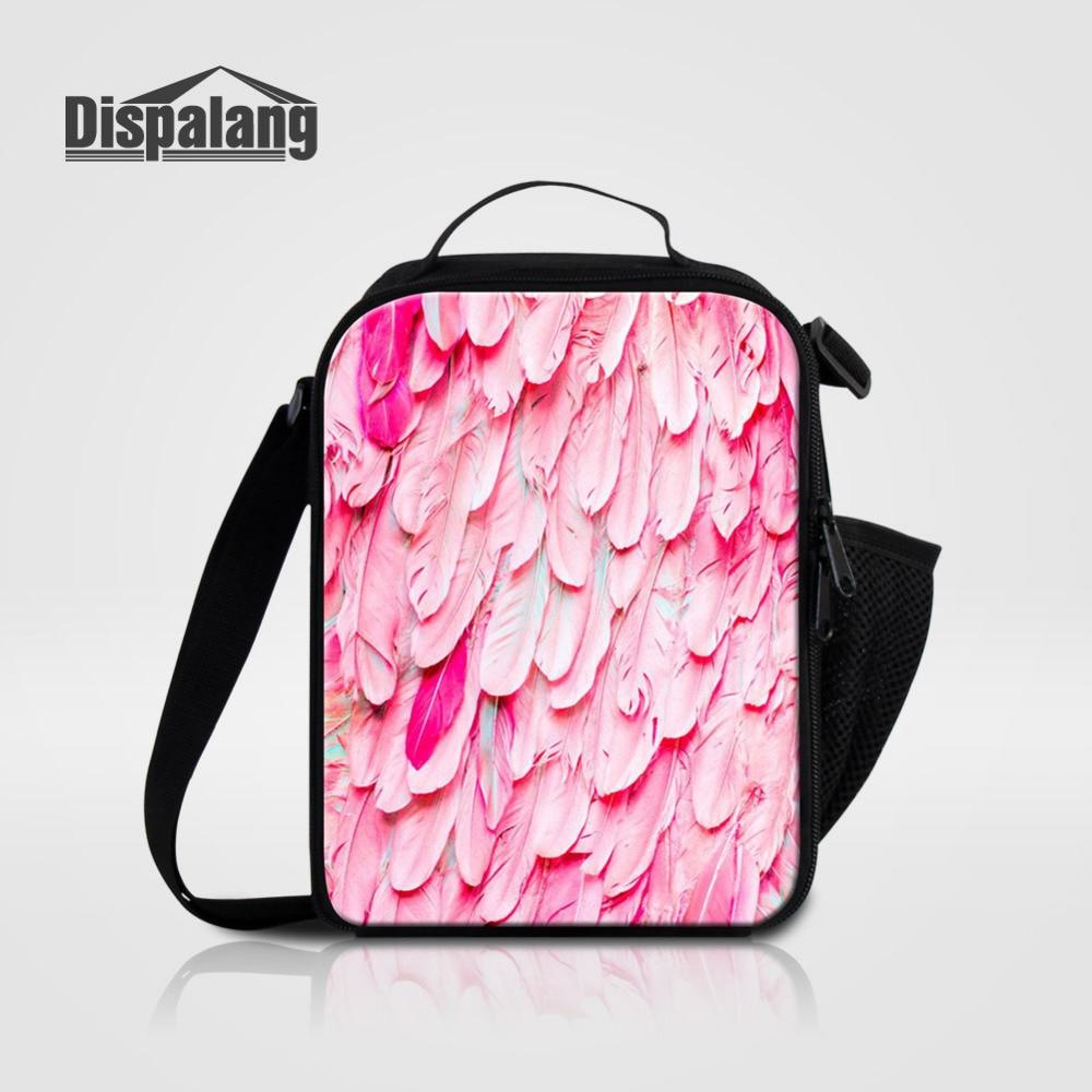 Dispalang Thermal Lunch Bags Animal Feather Print Insulated Food Bag for Kids Boys Girls Women Picnic Cooler Bag Bolsa Lonchera