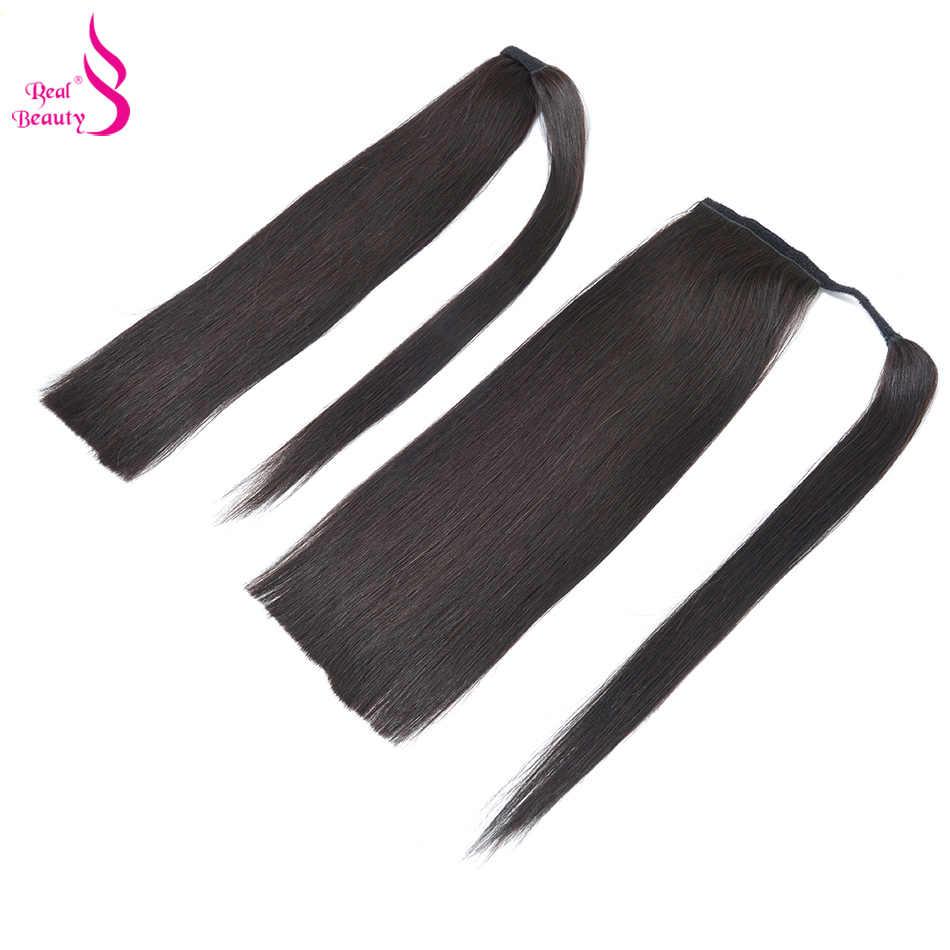 Pinza de pelo humano de cola de caballo de Belleza Real en europeo recto envolver alrededor de pinza de cola de caballo en 100% extensiones de cabello humano cola de caballo