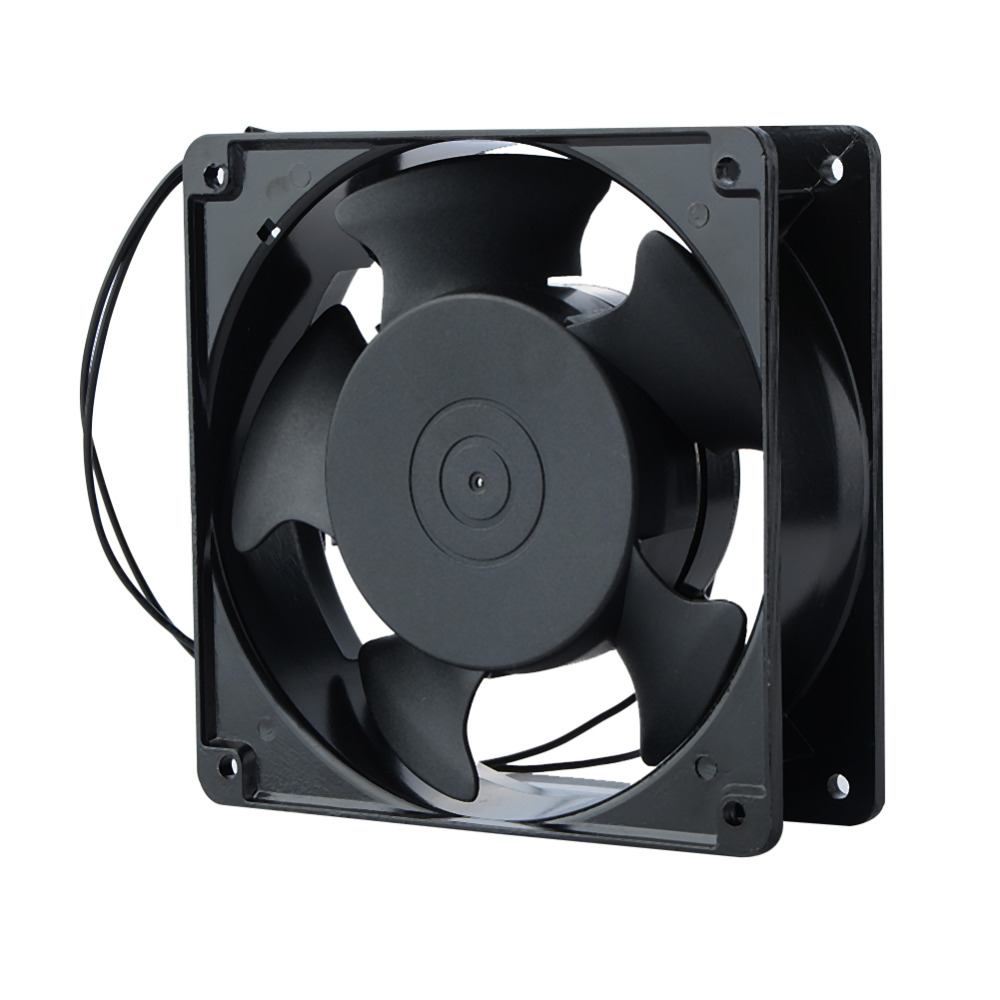 1 Piece Replacement Cooler Fan 12038 120x38mm 12cm 120mm 220V 240V AC Cooling Fan Metal free delivery 4e 115b fan 12038 iron leaf high temperature cooling fan 12cm