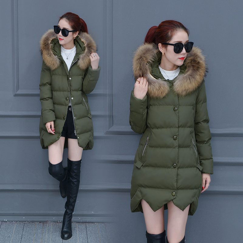 2017 winter new Korean women in the long section of large wool collar cotton thickening warm down jacket cold coat sky blue cloud removable hat in the long section of cotton clothing 2017 winter new woman