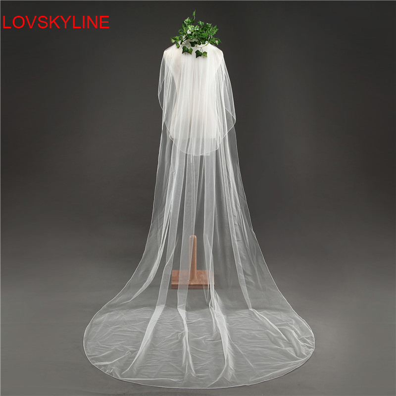 Hot Sell 3 Meter White Beige Ivory Cut Edge Cathedral Wedding Veils Long Two Layer Bridal