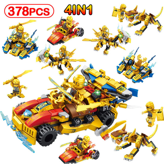 LegoINGLYS Gold Edition Mech Dragon Knights Golden Ninjago Warrior Figures Chariot Arms Building Blocks Gift Toy For Children