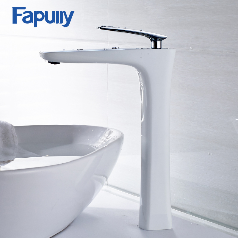 Fapully Bathroom Bath Basin Faucet Soild Brass Chrome Water Mixer Fashion Style Multi-color Bathroom Water Tap fashion design goose neck brass robinet bathroom basin tap faucet