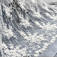 1 Meter Off White Wedding Dress Spitze Stoff 3D Chiffon Blumen Nail Bead High End Europäischen Spitzenbesatz Spitze Zubehör 2018