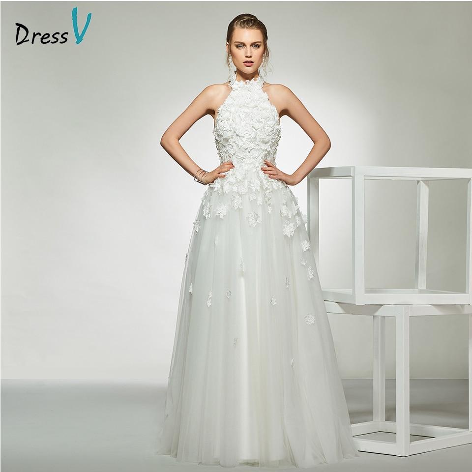 A Line Simple Wedding Dresses: Dressv Elegant Sample Halter Neck Appliques Wedding Dress