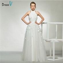 Dressv elegant sample halter neck appliques wedding dress sleeveless a line floor length simple bridal gowns
