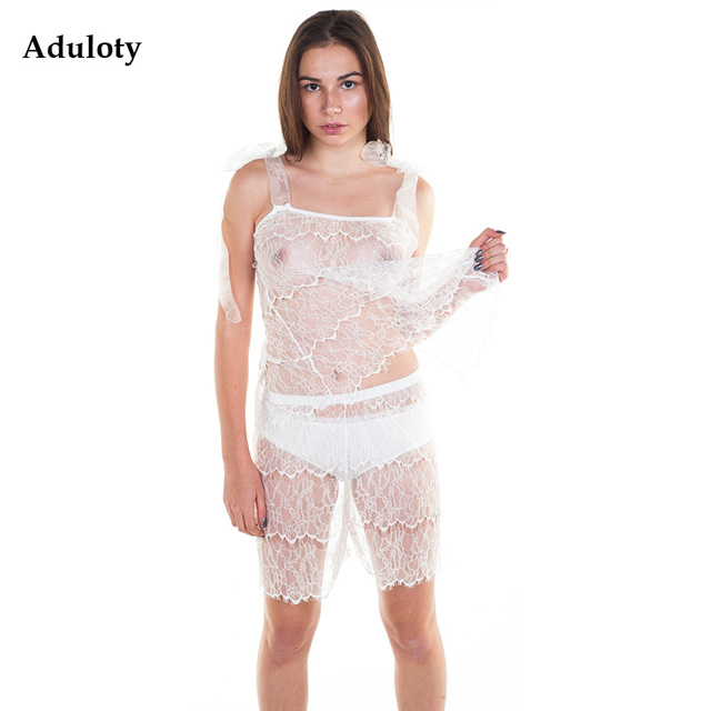 Vintage Bridal Lingerie Sets Lace Nightwear See-through Babydoll Transparent Nightgown Cami Set