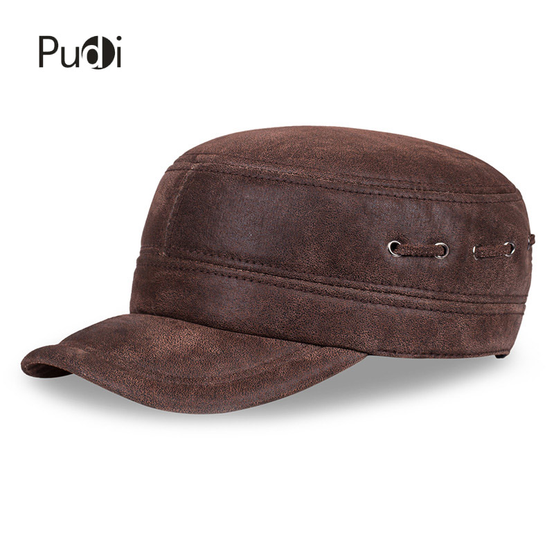 HL7086 Men real leather baseball cap hat 2017 brand new winter warm hunting fishing golf men's hats caps 35colors silver gold soild india scarf cap warmer ear caps yoga hedging headwrap men and women beanies multicolor fold hat 1pc