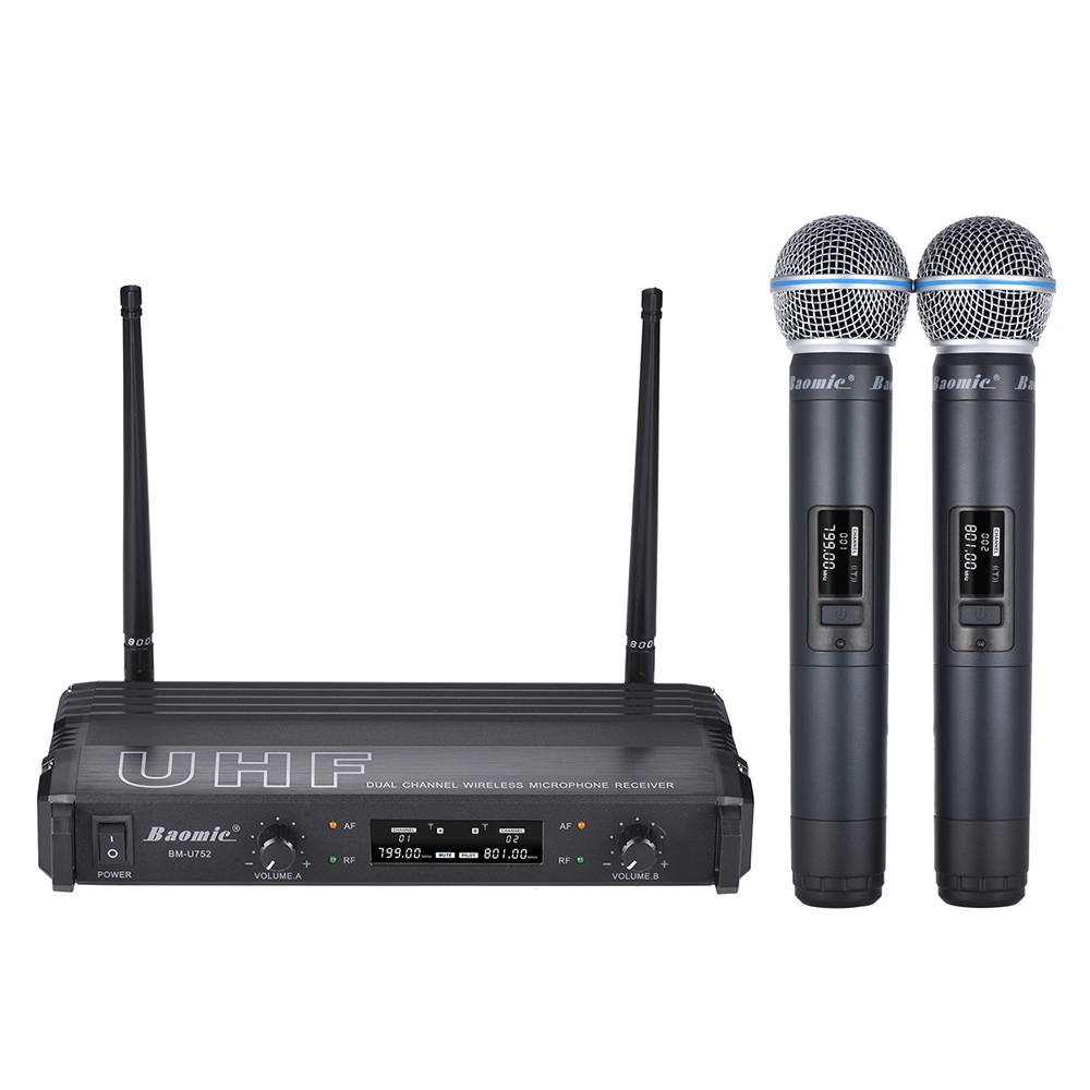 metal shell professional dual channel uhf wireless microphone receiver with 2 handheld mic for. Black Bedroom Furniture Sets. Home Design Ideas