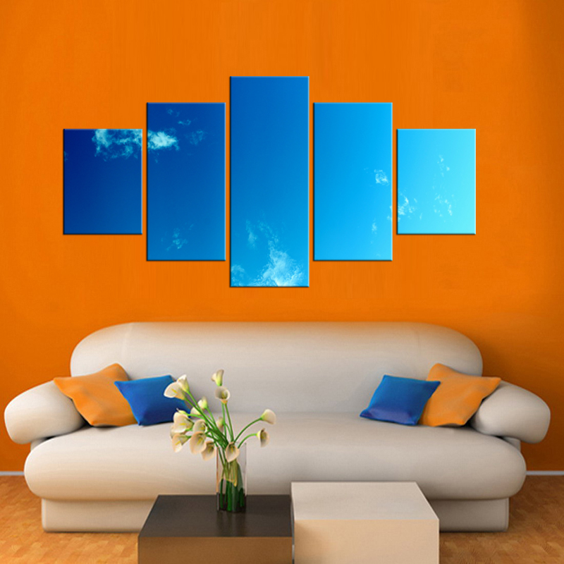 5 Pieces High Quality Modern Printed On Canvas Blue Sky Wall Painting Beautiful Sky Under Sunset Pictures Home Decor Framed in Painting Calligraphy from Home Garden