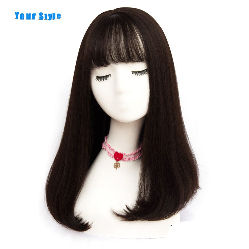 Your Style 45 Colors Long Brown Pink Female Synthetic Natural Full Wig With Wig Cap For Black Women Black Grey