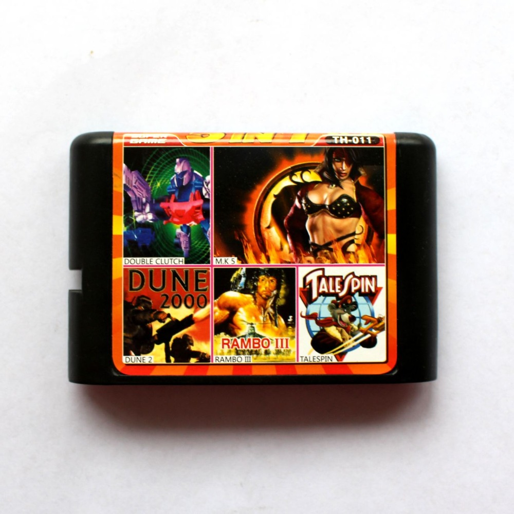 5in1 Double Clutch+M.K 5+Dune 2+Rambo III+Talespin 16 bit SEGA MD Game Card For Sega Mega Drive For Genesis mickey mouse castle of illusion