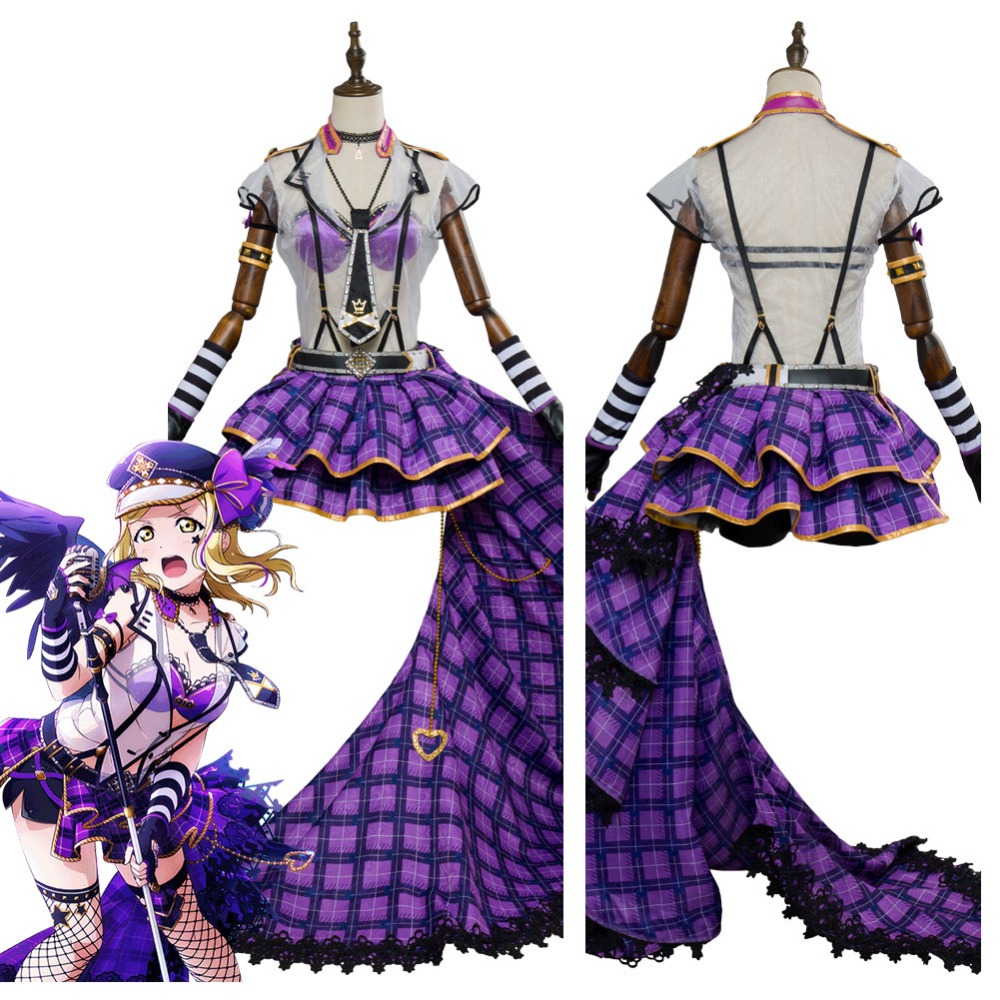 Love Live! Sunshine!! Mari Ohara Cosplay Costume Punk Rock Outfit Adult Women Girls Halloween Carnival Costumes No Wings