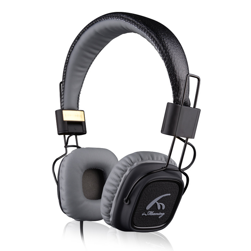 GOESTIME COOL Genuine leather headphone With Mic Deep Bass HiFi Headset DJ Hi Fi Headphone Professional