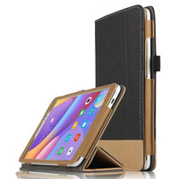 Ultra Slim 3-Folding Canvas Grain Folio Stand PU Leather Cover Protective Case For Huawei Honor Tablet 2 8.0