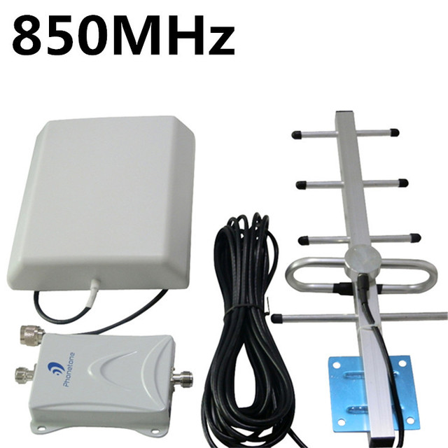70db High gain 850 MHz Mobile Phone Signal Booster Repeater GSM 3 G painel Kits amplificador interior + exterior Yagi Antenna