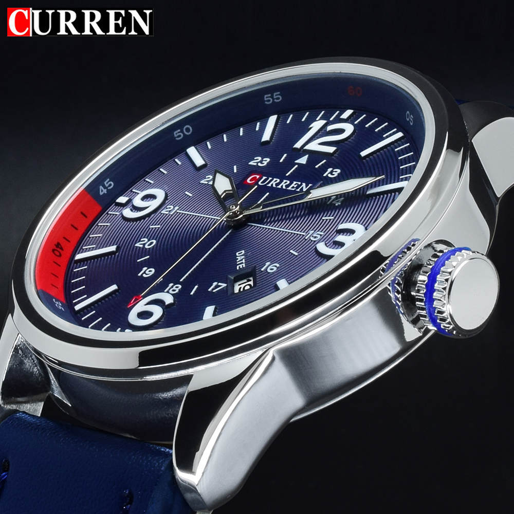 2017 Curren Clock Man Watch Luxury Brand Quartz Blue Watches Men Analog Leather Male Sports Men's Wrist Watch Horloges Mannen super speed v0169 fashionable silicone band men s quartz analog wrist watch blue 1 x lr626