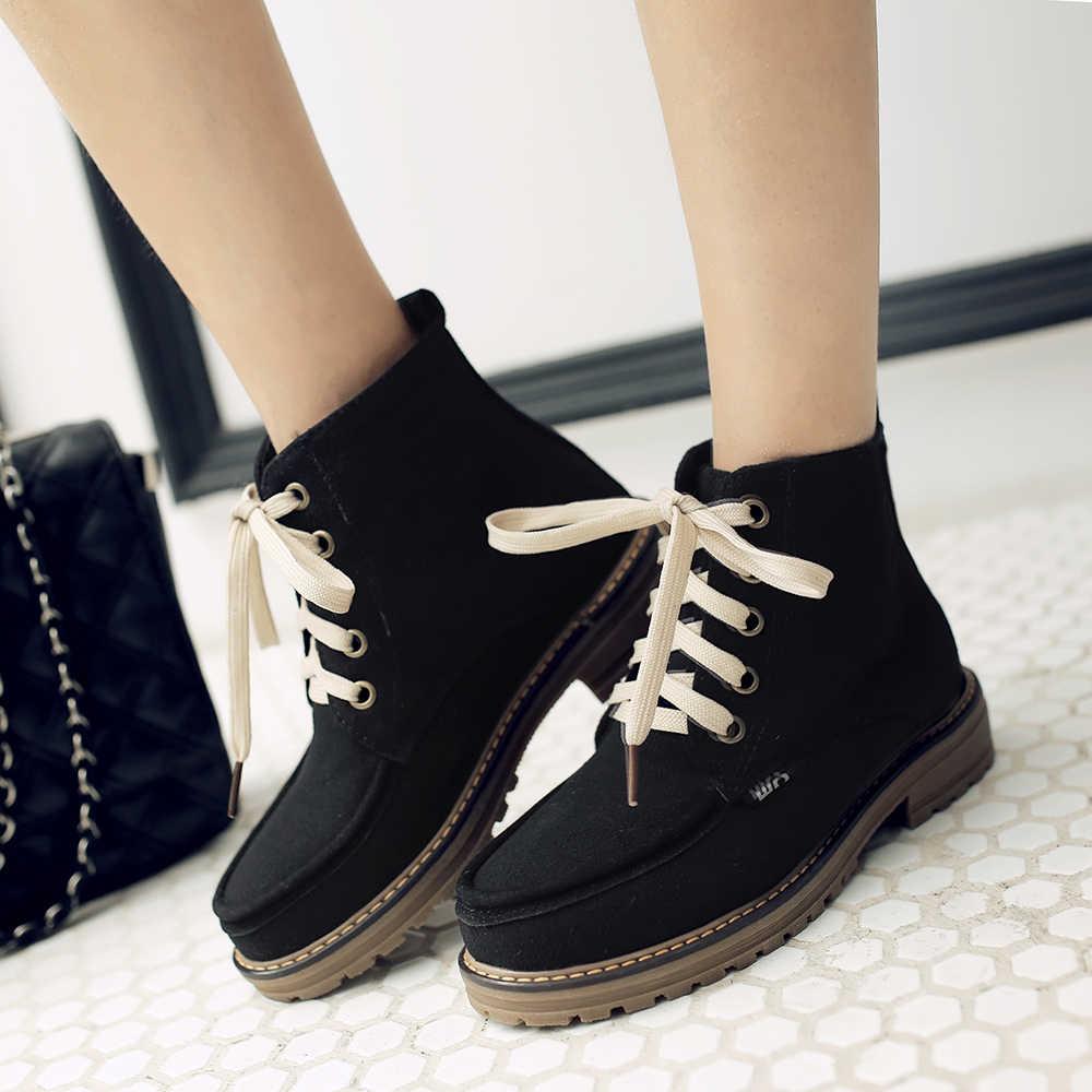 Bayanlar Akın kısa çizmeler Kalın Topuk Moda Bootie Platformu Lace Up Kış Kadın Ayakkabı Siyah Yeşil Sarı Kayısı
