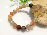 Free Shipping Natural Hairstone Bracelet For Women Jewelry 10MM Stretch Bracelets Rutilated Quartz Colorful