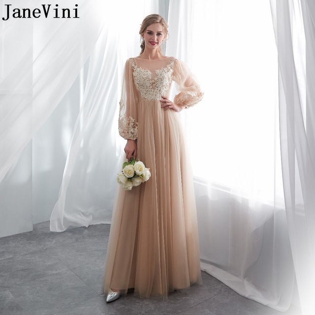JaneVini Elegant Champagne Long Sleeves Bridesmaid Dresses with Lace Appliques Floor Length Zipper Back Tulle Formal Prom Gowns