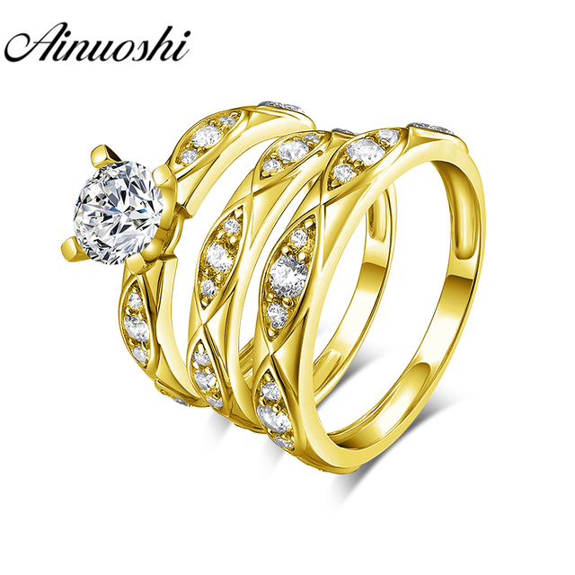 AINUOSHI 7.0g Real Gold TRIO Rings 10k Yellow Gold Couple Wedding Ring Set Leaf Design Lover Engagement Wedding Rings Jewelry