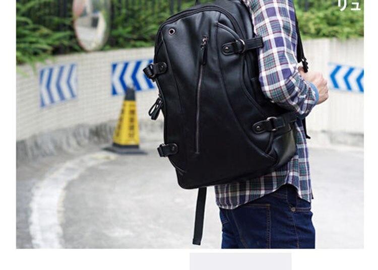 Lielang αδιάβροχο σακίδιο πλάτης & φορτιστής usb κινητού μαύρο δέρμα casual σχολική τσάντα για εφήβους msow