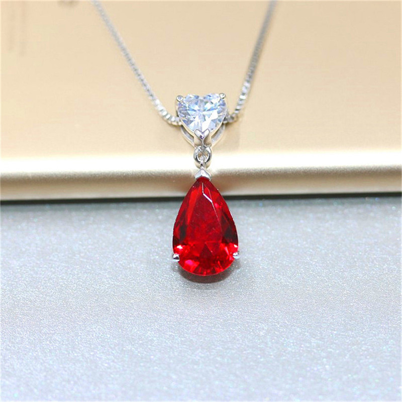 Ruby Gemstone S925 Silver Sterling Pendant Necklace Fine Jewelry Heart & Water Drop Bridal Wedding Classic Bijoux No Chain