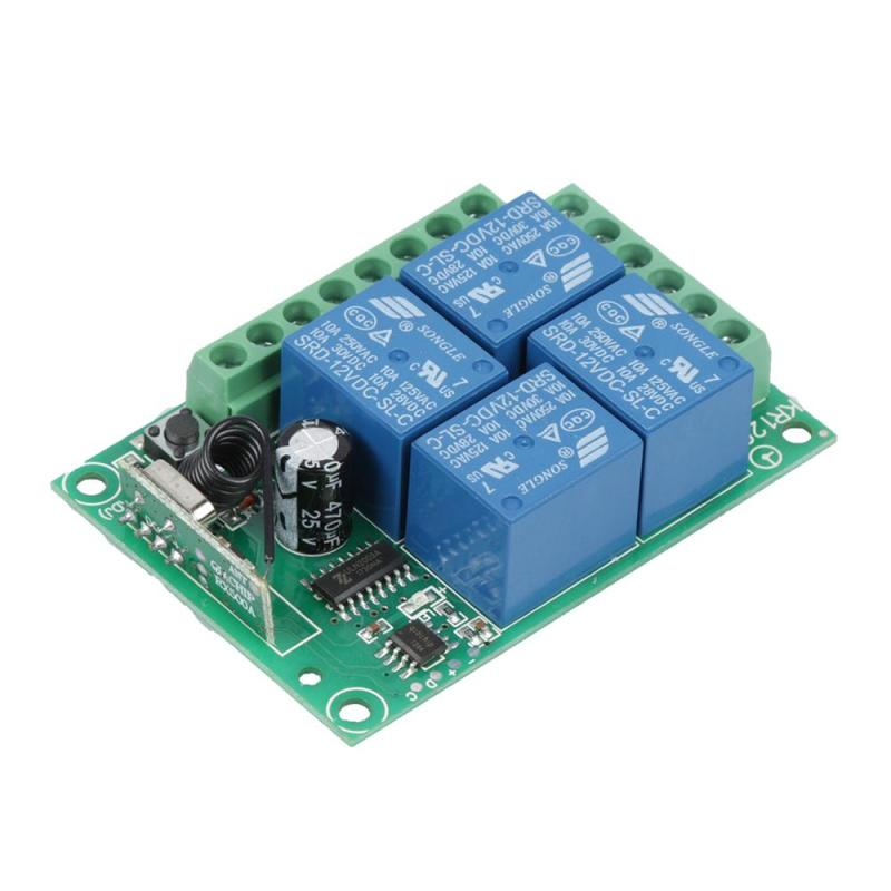 цена на 433Mhz Universal Wireless Remote Control light Switch DC 12V 4CH Relay Receiver Module 1527 Learning Code 433Mhz Transmitter Z3