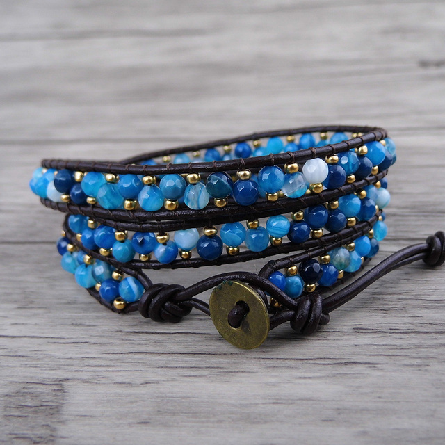 Blue Faceted Bead Wrap Bracelet 3 Row Leather Tiny Seed Yoga