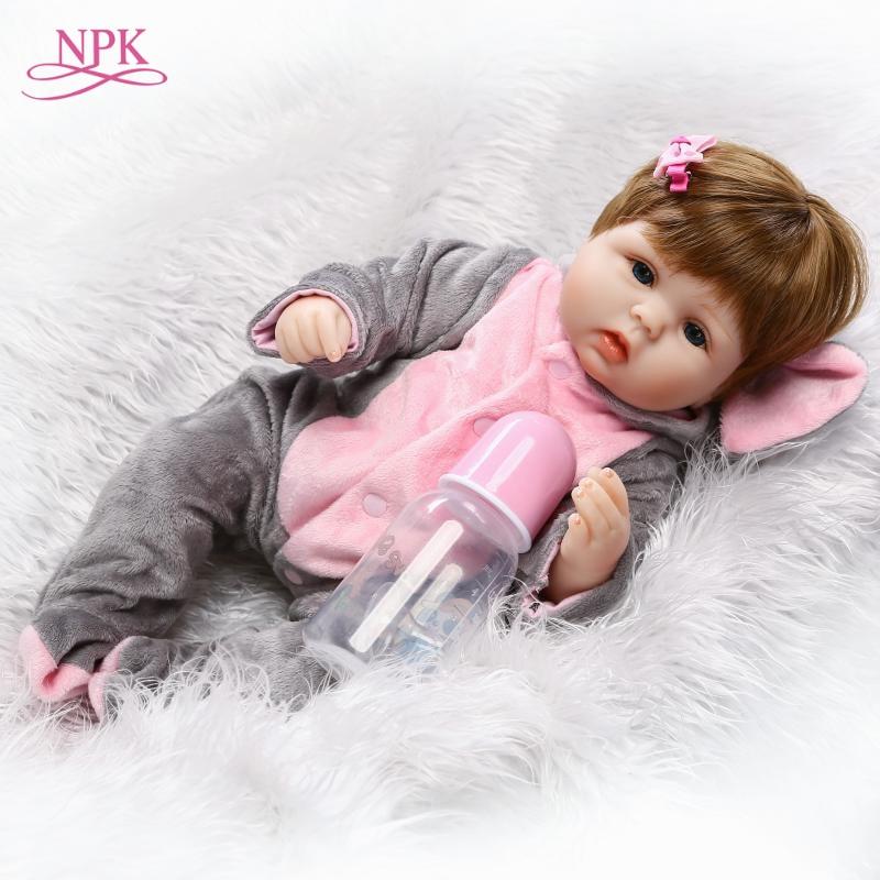 NPK 18 inch Lifelike reborn dolls babies silicone reborn baby boy dolls baby real alive Toys For Girls bebe gift reborn bonecas