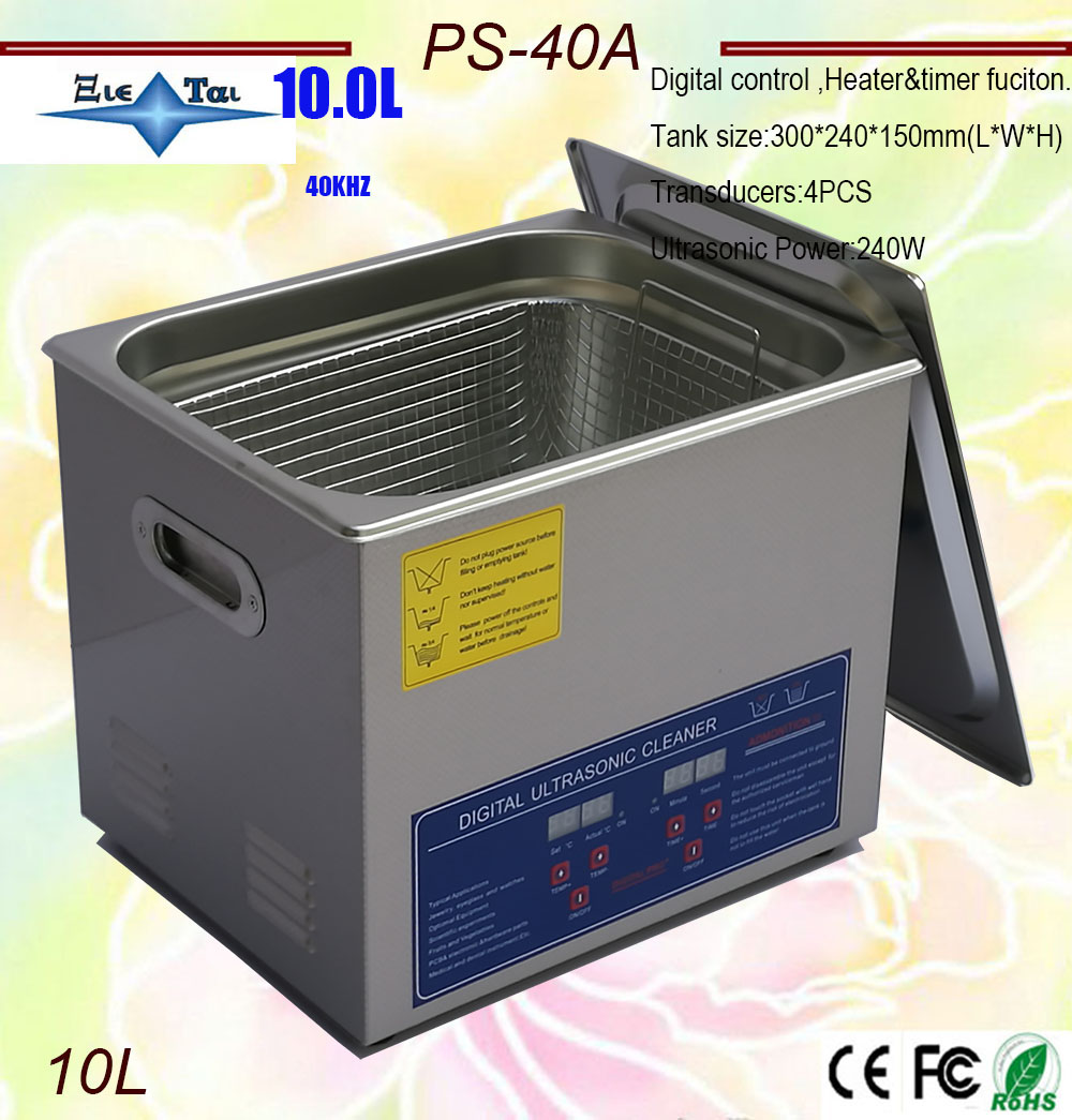 Hot Sale  AC110/220 Digital Ultrasonic Cleaner 10L  240W PS-40A Timer & Heater  Hardware Parts