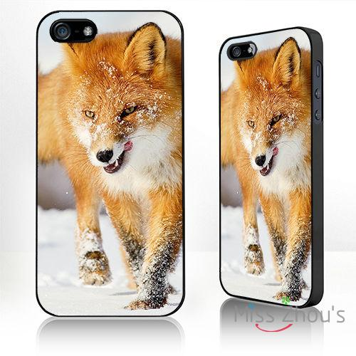 For Samsung Galaxy mini S3/4/5/6/7 edge plus Note2/3/4/5 mobile cellphone cases cover Fox in the snow