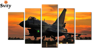 5 Piece Wall Art Painting Aviation Plane In Airport Under Sunset Gathering Picture Print On Canvas