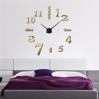 Meet Jo Big Clocks Wall Watches Home Decoration 3D Living Room Wall Stickers Acrylic Craft Self Assembly 1pc